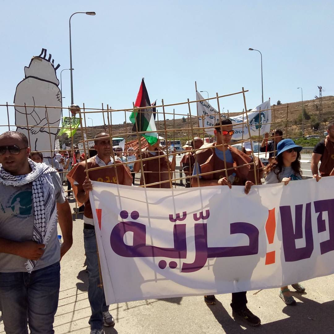 Members of Combatants for Peace at a demonstration in the West Bank