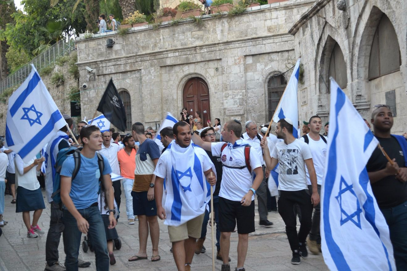 Jews march to mark Jerusalem Day, which commemorates the capture of East Jerusalem in the 1967 war.
