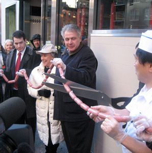 NICKEL SHTIKELS: The 2nd Ave Deli celebrated its reopening with a ceremonial salami slicing