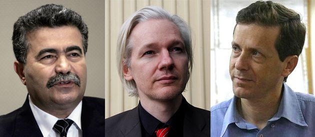 Moroccan Leaks: Julian Assange (center) allowed the world to see that Yitzhak Herzog (right) was worried about what people thought about Amir Peretz (left).