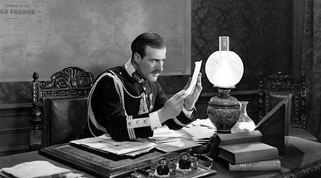 Je N'Accuse Plus: A scene from the 1931 film 'Dreyfus' shows the discovery of the letter which finally proved the innocence of Alfred Dreyfus.