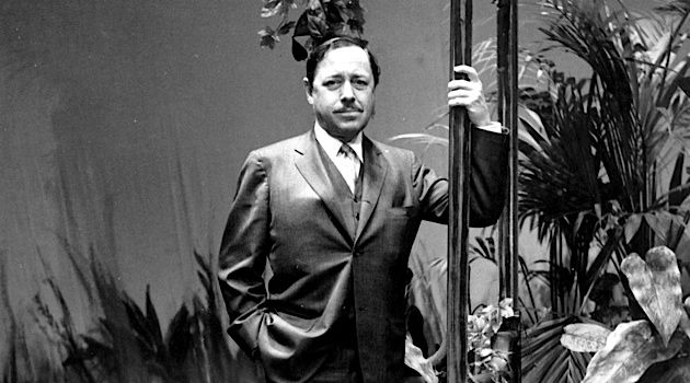 Standing at the Savoy: Williams in 1965 at London's Savoy Theatre on the set of his play 'Night of the Iguana.'