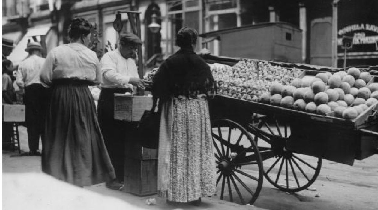 Pushcart City: Pushcarts were all the rage among Jewish vendors on the Lower East Side from the turn of the century until 1940, when Mayor Fiorello LaGuardia banned their use. Jewish pushcart operators sold everything from vegetables to cigars to stockings.