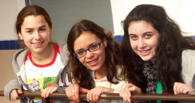 West Bank: From left, Rachel Mirsky, Yolly Dratch and Rivka Cohen at the host school, Ulpanat Tzvia, in Ma?ale Adumim.