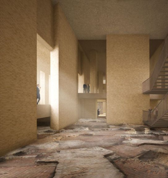 The House of One will be built on the ruins of a neo-Gothic church from 1853 (simulation).