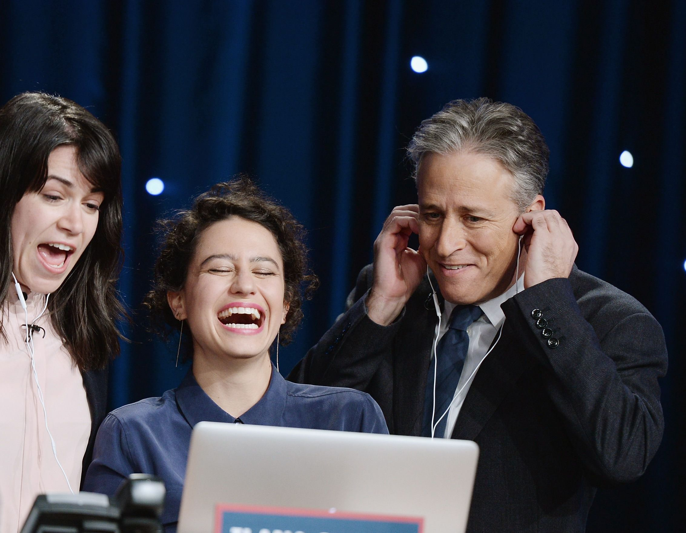 Abbi Jacobson, Ilana Glazer, and Jon Stewart attend The Night Of Too Many Stars Live Telethon