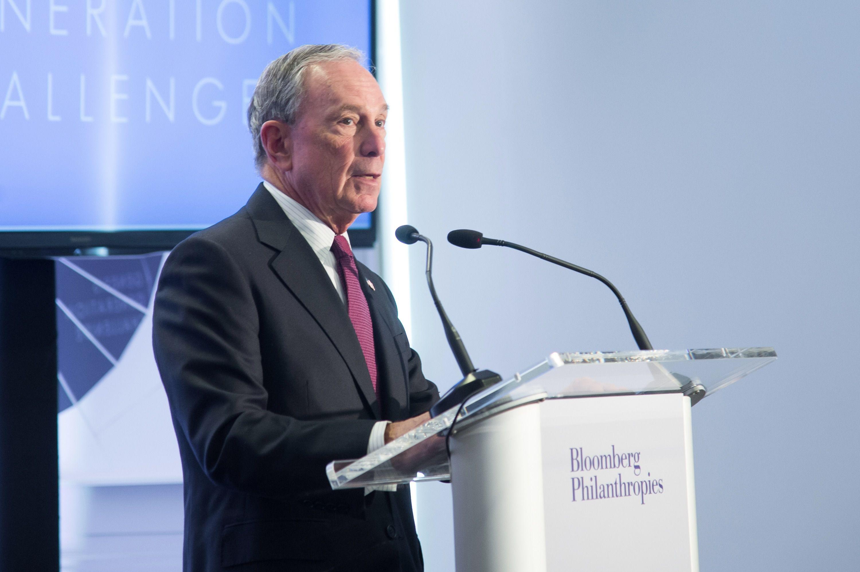 Michael Bloomberg announces the winner of the Genesis Generation Challenge.