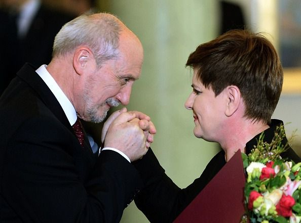 Powerful Pair: Poland's new defense minister, Antoni Macierwicz (left) has suggested that the anti-Semitic Protocols of the Elders of Zion may be valid. Prime Minister Beata Szydio (right) has rebuffed demands to revoke his appointment.