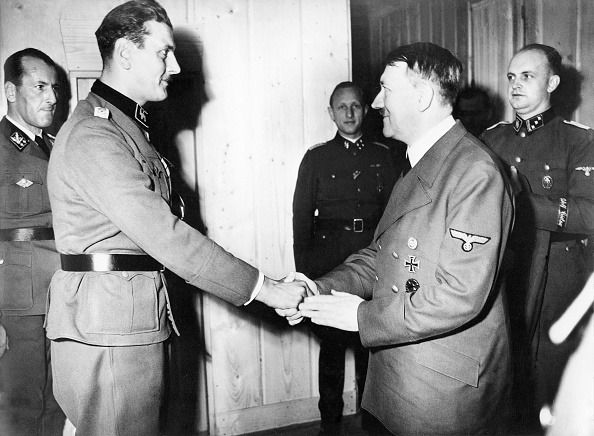 His Hero: Skorzeny meets with Hitler in 1943 after leading the daring rescue of the German leader's friend and ally, Benito Mussolini.
