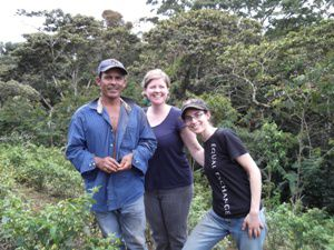 Equal Exchange worker-owner Molly Zeff in Nicaragua with a co-operative?s farm partner and one of their faith-based partners from the Presbyterian Hunger Program.