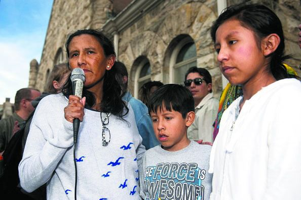 Family At Stake: Jeanette Vizguerra speaks to supporters outside the First Unitarian Church in Denver with two of her three U.S.-born children at her side.