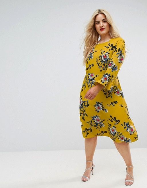 Asos Curve Column Midi Dress in Satin Floral, $56