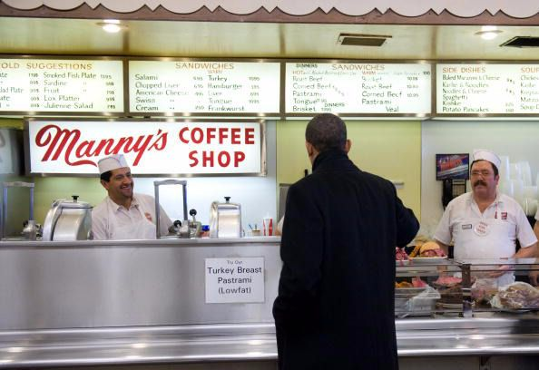 Meal Fit For a President: Barack Obama steps up to the counter at Manny's.