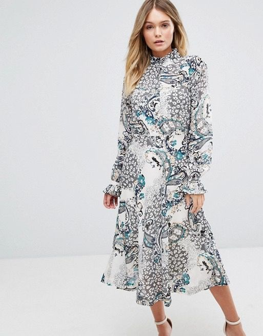 Boohoo High Neck Printed Midi Dress, $44