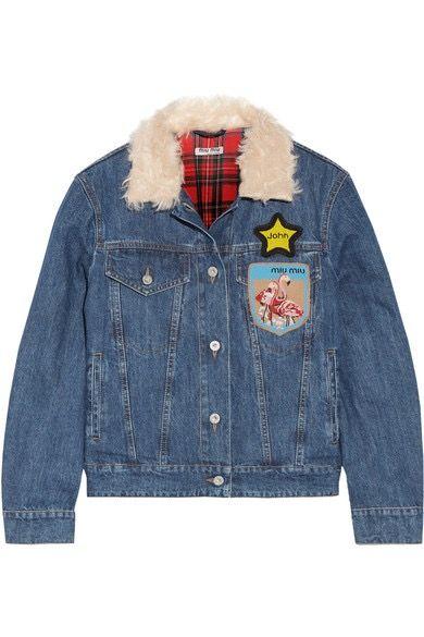 The star patch on a Miu Miu denim jacket.