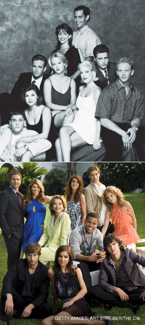 THE WAY THEY WERE: The cast of the original Fox series ?Beverly Hills, 90210? (left) and the CW remake (right)