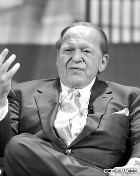 ANTE MAIMED: Stock losses raised fears about casino mogul Sheldon Adelson?s charitable giving.