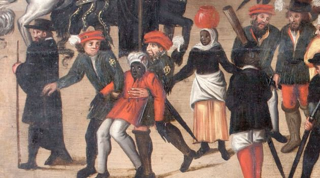 Blacks and Jews: Jewish police officers haul away a black man in this anonymous depictiion of a Lisbon street scene on display at the Walters Art Museum in Baltimore.