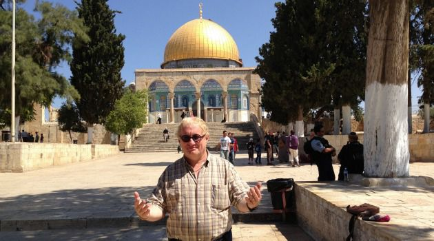 Occupying His Territory: Tuvia Tenenbom makes his way back from the Al-Aqsa mosque.