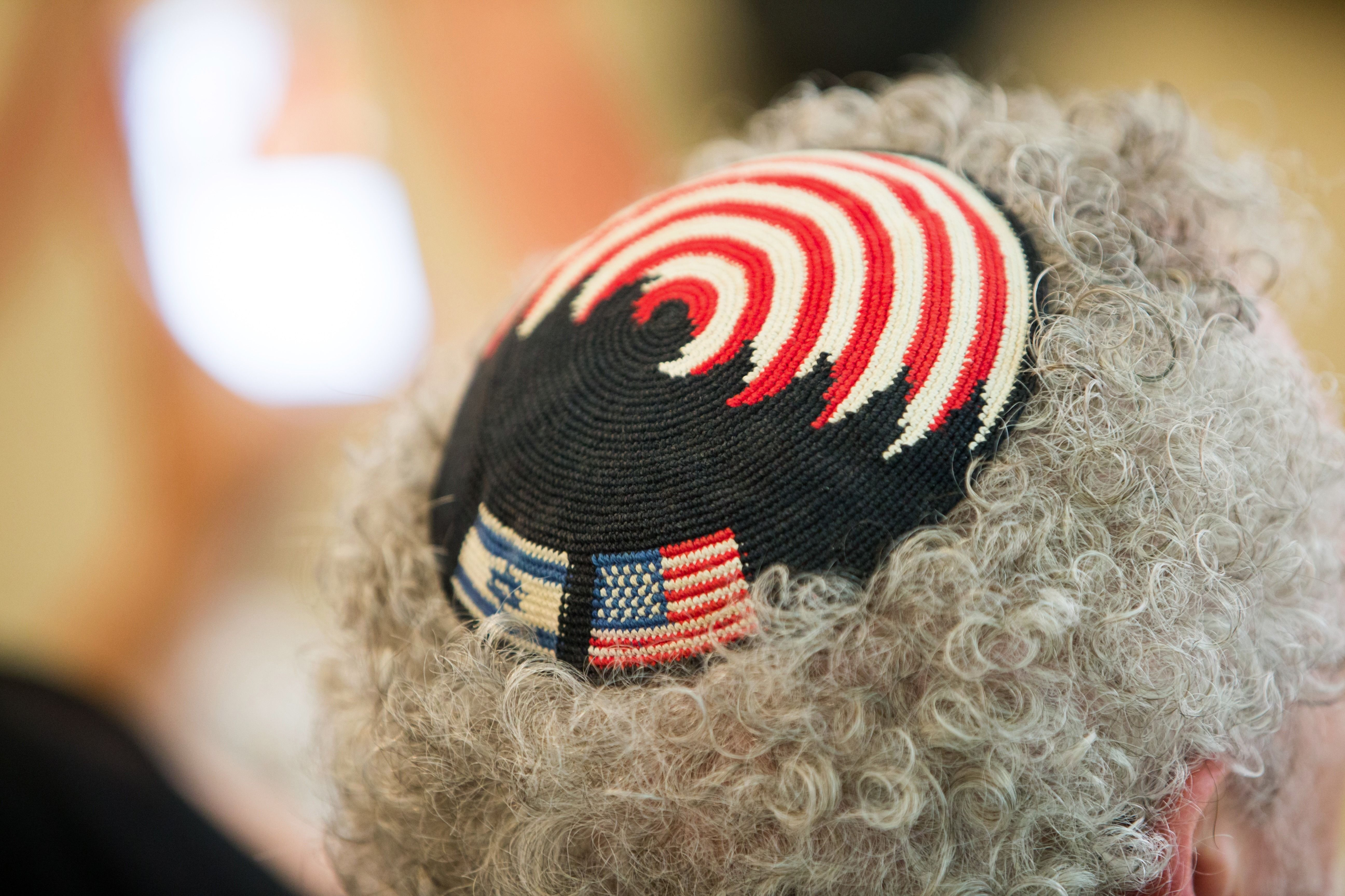 A yarmulke with the Israeli and American flags.