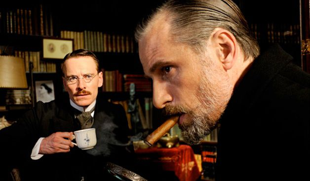 Jung and Freud: Michael Fassbender (left) and Viggo Mortenson with a cigar.