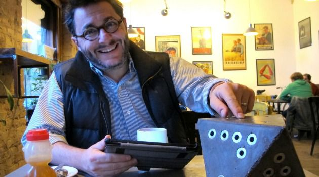 And on the Eighth Day, He Made This Menorah: Andras Daranyi demonstrates one of his start-up company?s holiday designs.