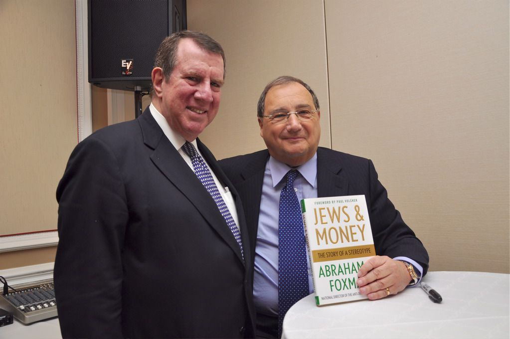Photo by Amanda Gordon. Andrew Tisch (left) with man of the hour Abraham Foxman.