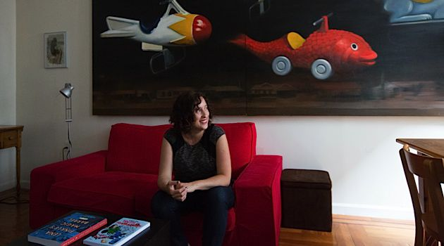 Cushioning Reality: Anya Ulinich, who is now debuting as a graphic novelist, poses in front of one of her paintings at her home.