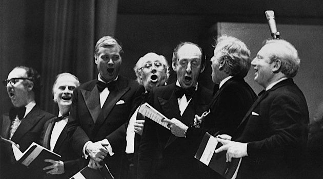 Musical Dupes? (From far right) Isaac Stern, Leonard Bernstein, Vladimir Horowitz and others join together for the Hallelujah Chorus.
