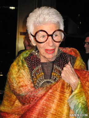 WELL DRESSED: Iris Apfel made a dramatic entrance.