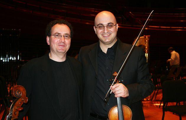 Bridging Cultural Gaps: Israeli-Jewish cellist Udi Bar-David, left, and Arab-Israeli violinist Hanna Khoury rehearse ?Resonances.?