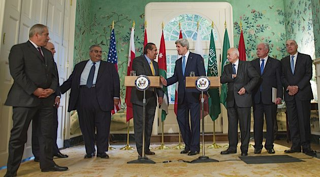 Breakthough? Secretary of State John Kerry meets with Arab League leaders in Washington.
