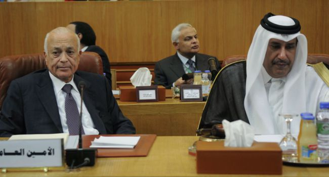 Sadat?s Heirs? Arab League Secretary General Nabil al-Arabi (left) sits next to Qatari Premier and Foreign Minister Sheikh Hamad bin Jassim bin Jabr al-Thani.