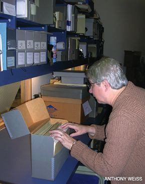 FILED AWAY: Carole Le Faivre-Rochester, the board president of the Philadelphia Jewish Archive Center, looking through documents at the archive?s current location.