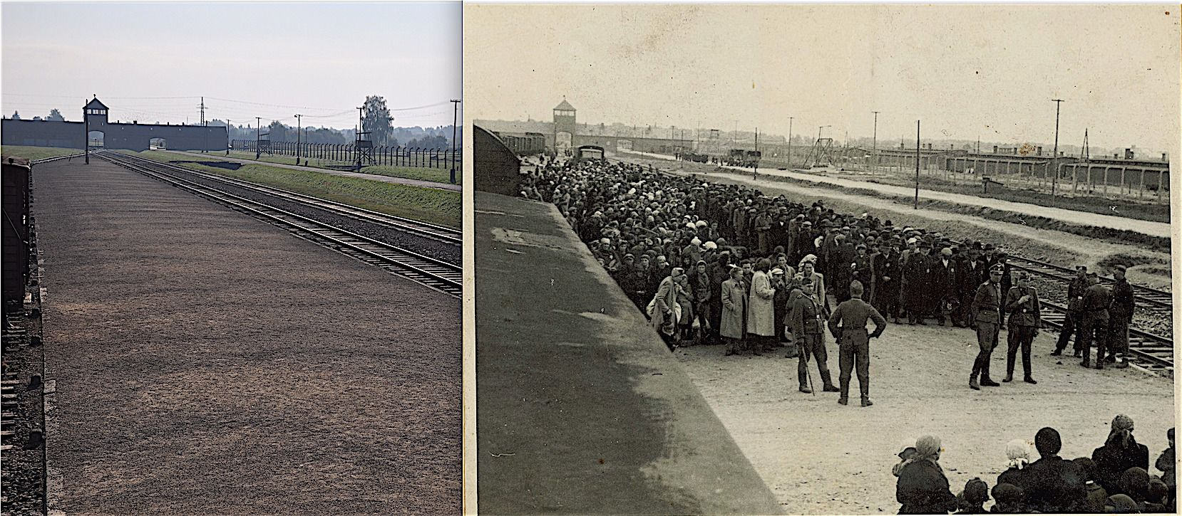 Gateway to Death: The ramp at Auschwitz II-Birkenau where SS doctors made selections for extermination among the deported Jews. As it exists today at the Auschwitz Memorial, and an SS picture showing a new arrival of Hungarian Jews in May 1944.