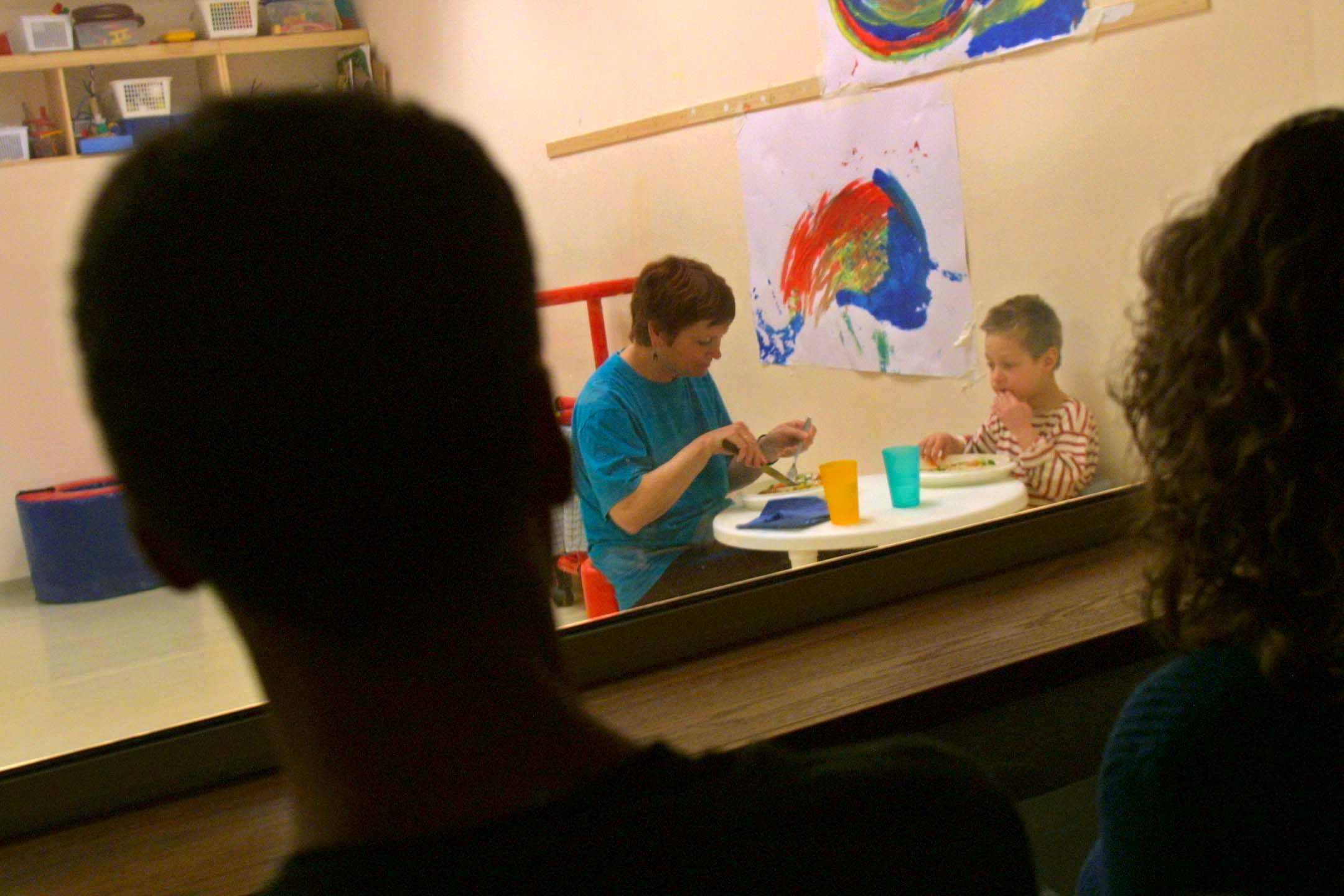 A four-year-old autistic boy learns at the Mifne Center for autistic children in Rosh Pina, Israel.