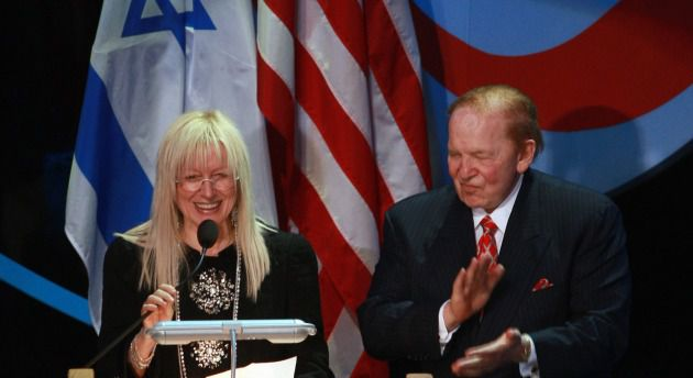 Miriam and Sheldon Adelson address Shimon Peres?s Israel Presidential Conference, Jerusalem, May 2008