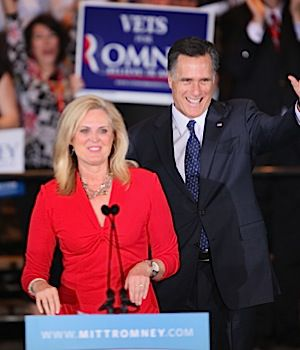 Ann Romney introduces her husband.