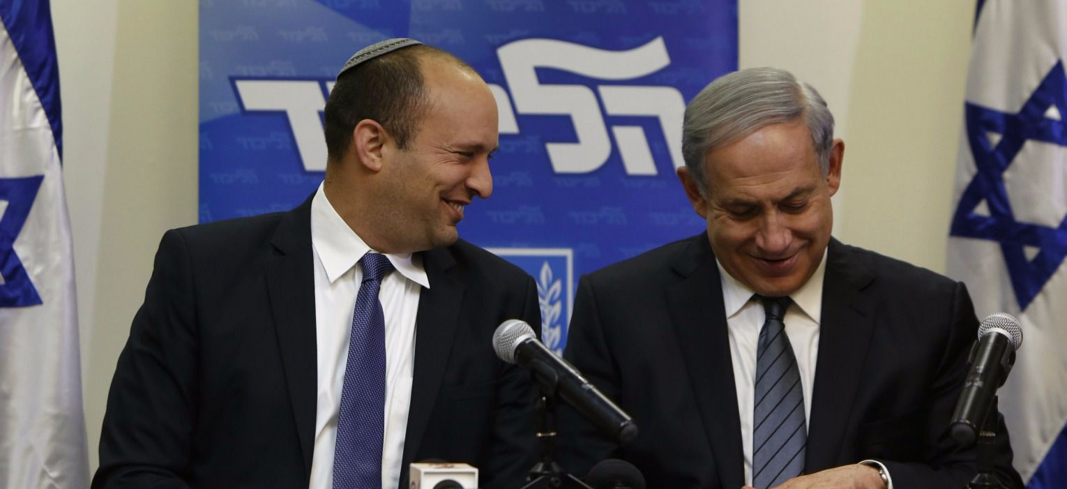 Naftali Bennett and Benjamin Netanyahu announce their coalition agreement, May 6, 2015.