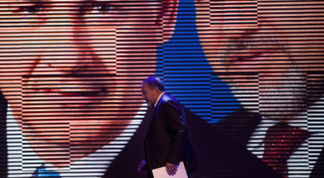 Ever Controversial: Avigdor Lieberman at a Likud-Beiteinu campaign rally in 2012.