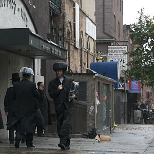 Hasidic Jews rush to make preparations for Hurricane Sandy in Williamsburg, Brooklyn.