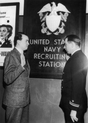 William Patrick Hitler (left), the son of Adolf Hitler?s stepbrother Alois, is sworn into the US Navy by Lieutenant Christian Christofferson in New York City on March 6, 1944.