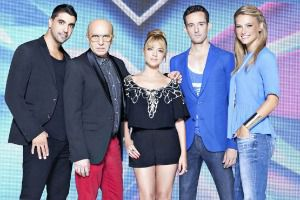 Israeli X-Factor judges with Bar Refaeli (on the right).