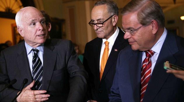 Backing new sanctions: Senators John McCain, Chuck Schumer and Bob Menendez, from June 2013