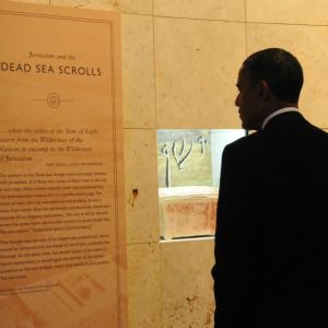 President Barack Obama stopped by the Dead Sea Scrolls exhibit during a visit to the Franklin Institute in Philadelphia.