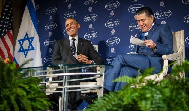 President Obama talks with Haim Saban at Saban Forum, Washington, D.C., December 7.