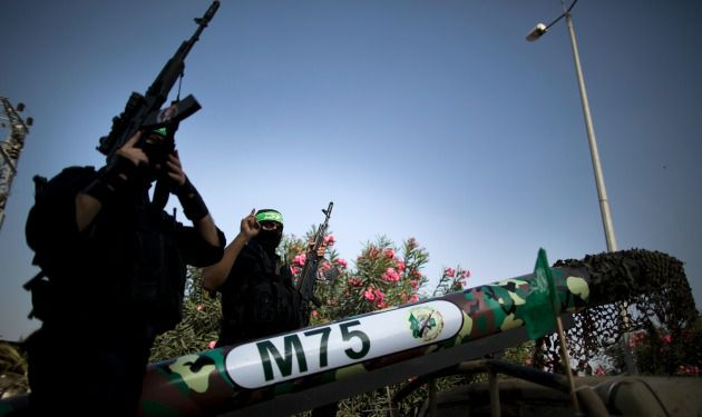 Hamas fighters testing a Gaza-made M-75 long-range missile, November 2012