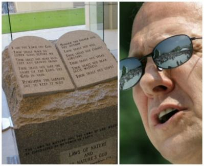 Alabama Chief Justice Roy Moore and his Ten Commandments memorial, 2003.