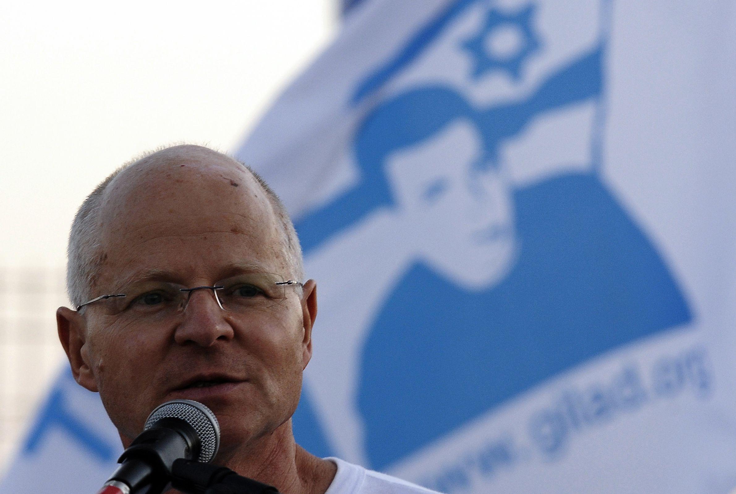 Noam Shalit speaks in Gaza on August 28, 2011, Gilad Shalit?s 25th birthday.