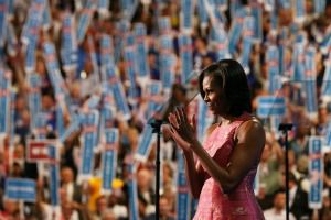 First Lady Michelle Obama talks at the DNC